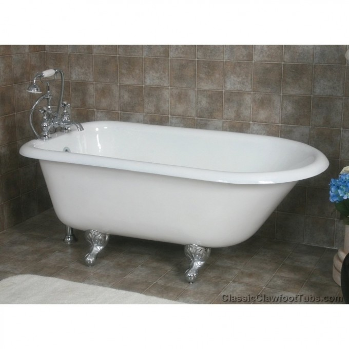 Hite Bathup With Iron Clawfoot Tub On Brown Ceramics Floor Matched With Brown Ceramic Wall For Bathroom Decor Ideas