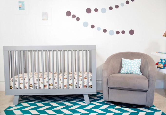Hudson 3 In 1 Crib Crib By Babyletto On Blue An White Chevron Carpet Plus Grey Single Sofa For Nursery Decor Ideas