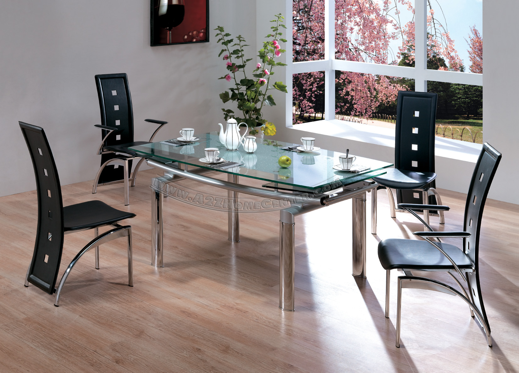 inspiriing dining room decor with expandable dining table set in black on wooden floor matched with white wall ideas