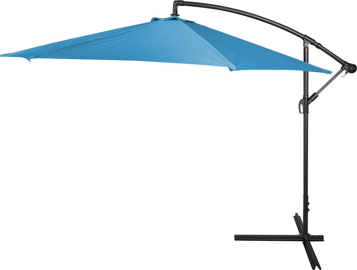 inspiring cantilever patio umbrella in blue with black metal stand for patio furniture ideas