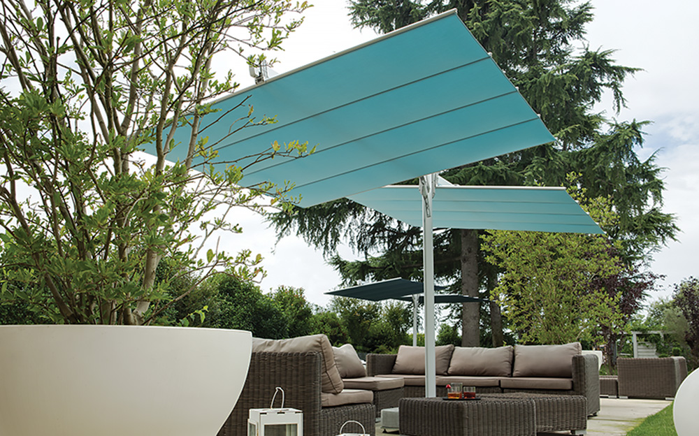 inspiring cantilever patio umbrella in blue with metal stand for patio furniture ideas