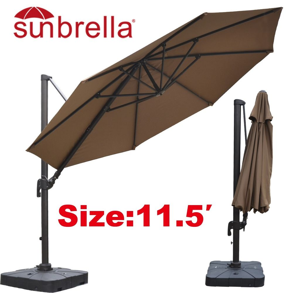 inspiring cantilever patio umbrella in brown with black stand for patio furniture ideas