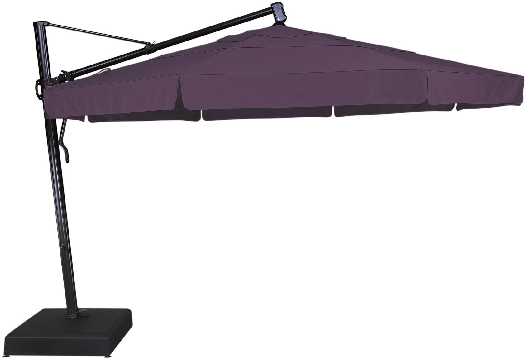 inspiring cantilever patio umbrella in purple with black metal stand for patio furniture ideas