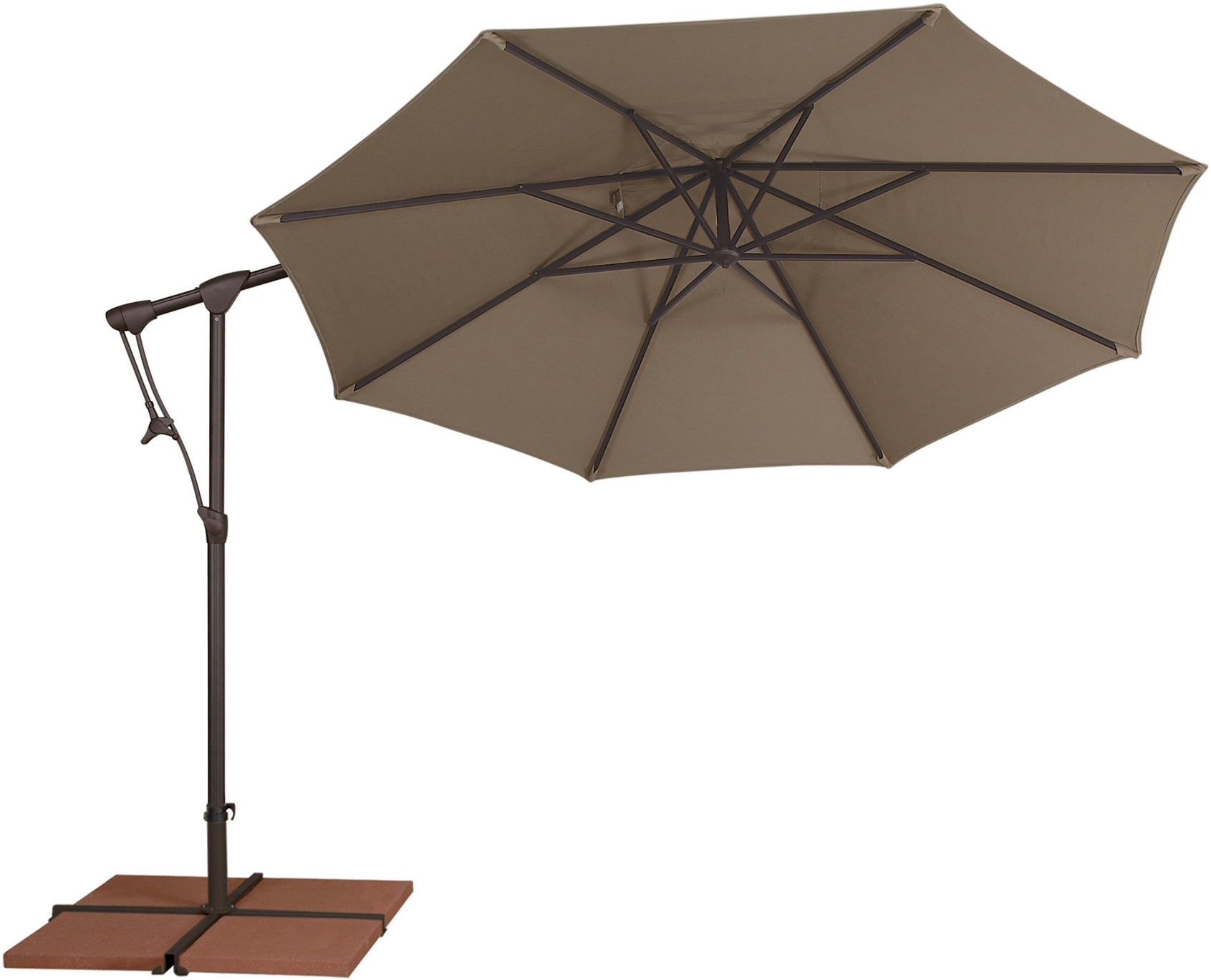 inspiring cantilever patio umbrella in tan with black stand for patio furniture ideas