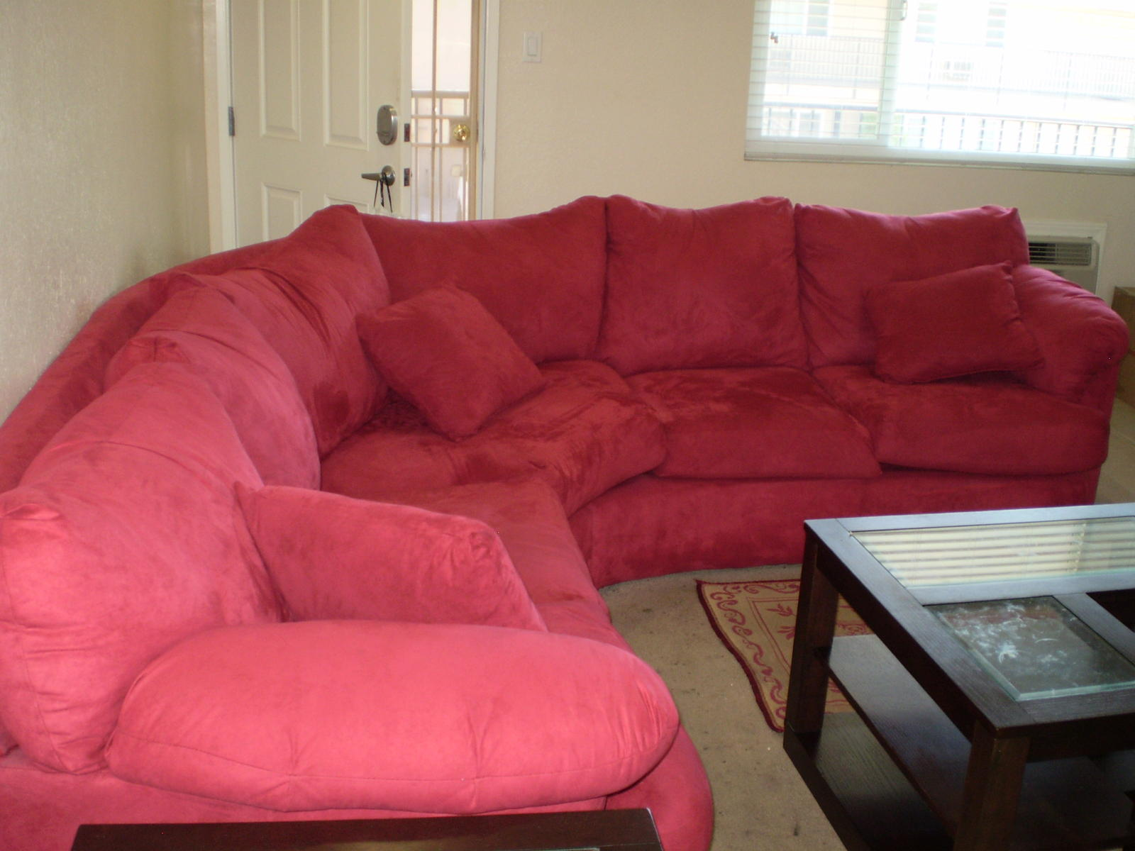 inspiring cheap sectional sofas in solid red plus cushions for living room furniture ideas