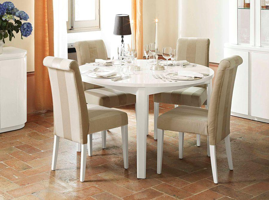 inspiring dining room decor with expandable dining table set in white and cream theme on brown tile floor matched with white wall ideas