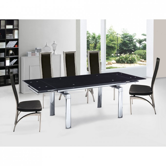 inspiring dining room with expandable dining table set in black on white ceramics floor matched with - Dining Table Black Glass