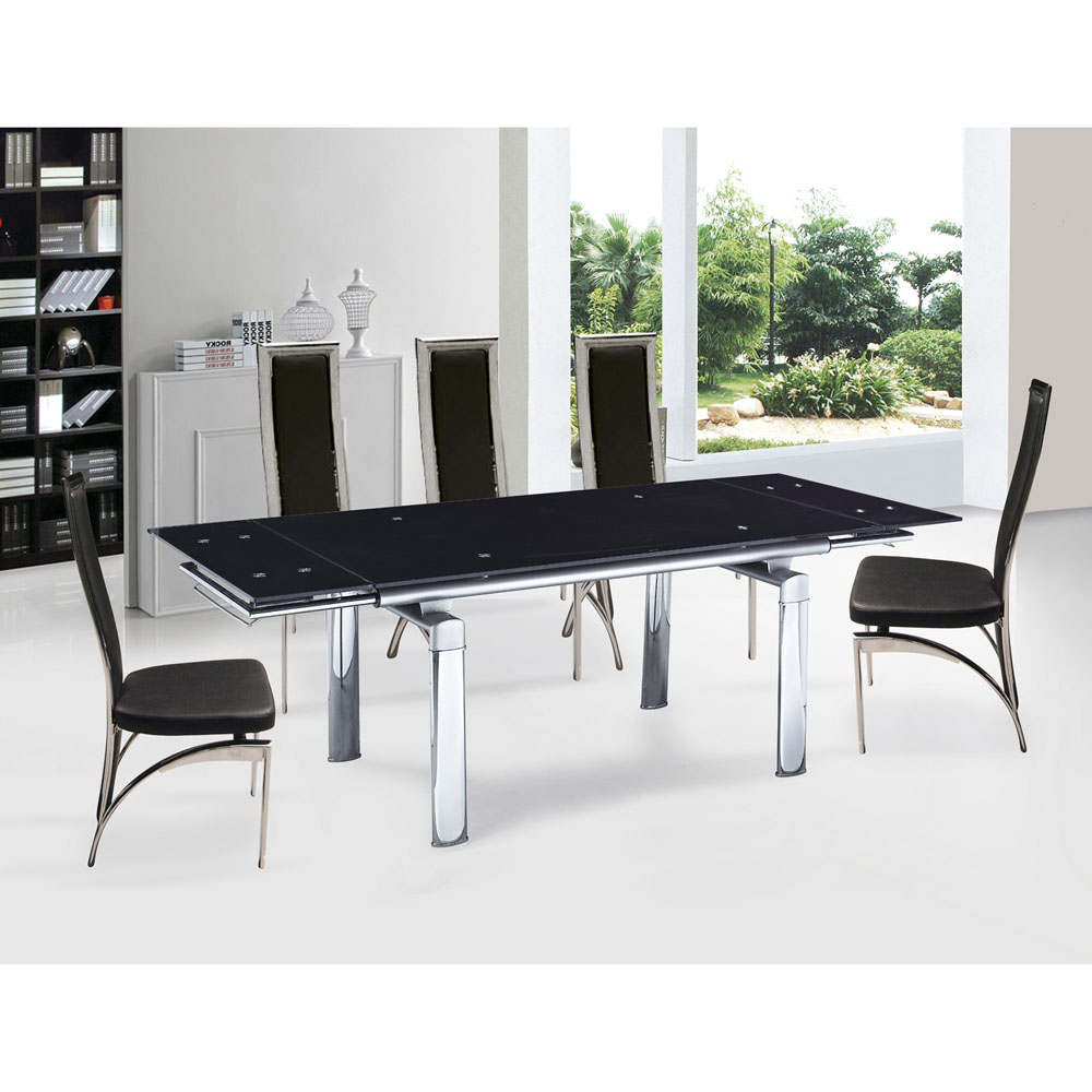 inspiring dining room with expandable dining table set in black on white ceramics floor matched with white wall ideas