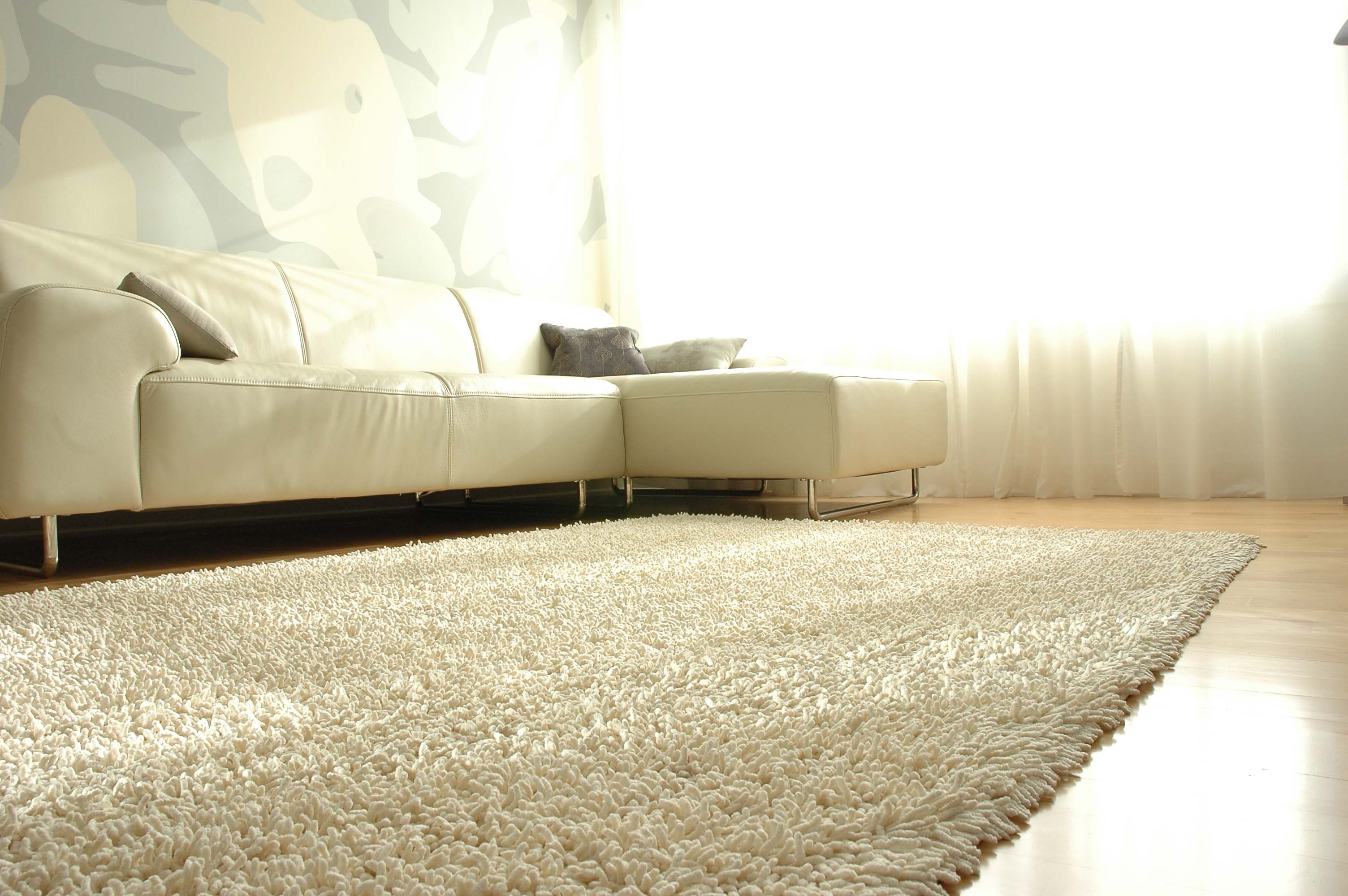 inspiring living room decor ideas with white shag rugs on wooden floor plus white sofa