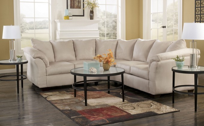 Inspiring Living Room Decor With Cheap Sectional Sofas In White On Black Floor Plus Carpet And Round Glass Table Ideas