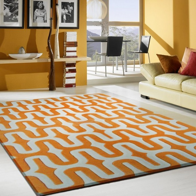 Inspiring Living Room Decor With Orange 5x7 Area Rugs On White Ceramics Floor Plus Yellow Sofa Matched With Orange Wall Ideas
