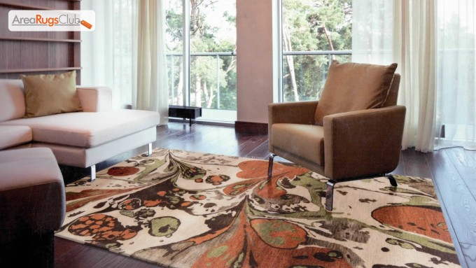 Inspiring Living Room Decor With Single Brown Sofa On Wooden Floor With Surya Rugs In Floral Pattern Ideas