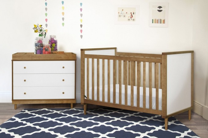 Interesting Wooden Crib By Babyletto On Navy Carpet Plus Dresser Before White Wall For Baby Room Decor Ideas