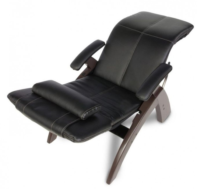 Interesting Zero Gravity Chair With Black Leather Seat And Brown Stand Plus Pillow For Home Furniture Ideas