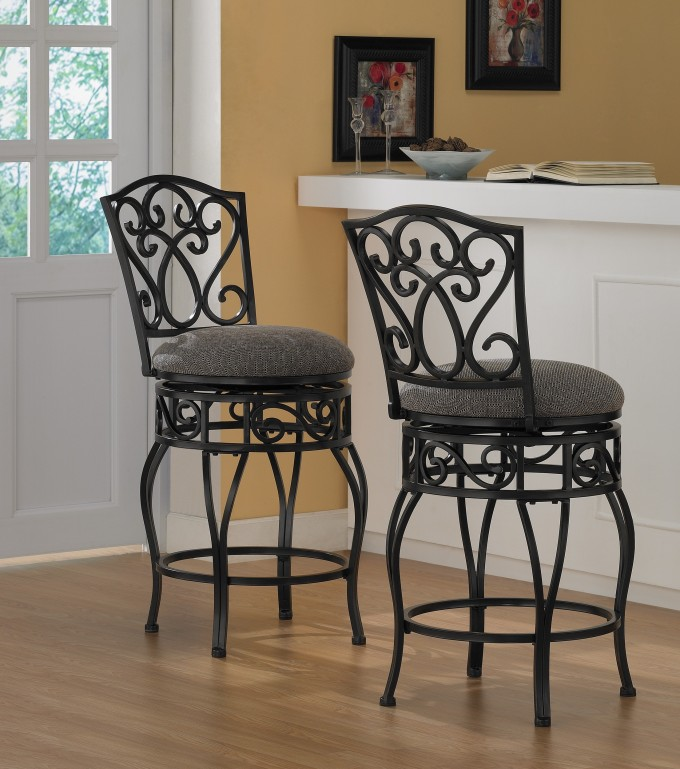Iron 24 Inch Counter Stools In Black With Grey Seat On Wooden Floor Plus Bar Table For Kitchen Decor Ideas