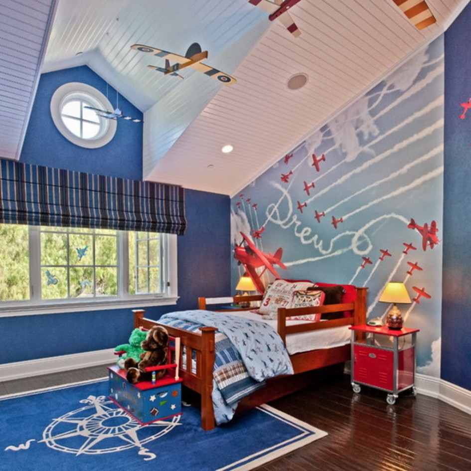 kids bedroom decor with bedding by laura ashley bedding with charming blue wallpaper matched with wooden floor plus blue rug ideas