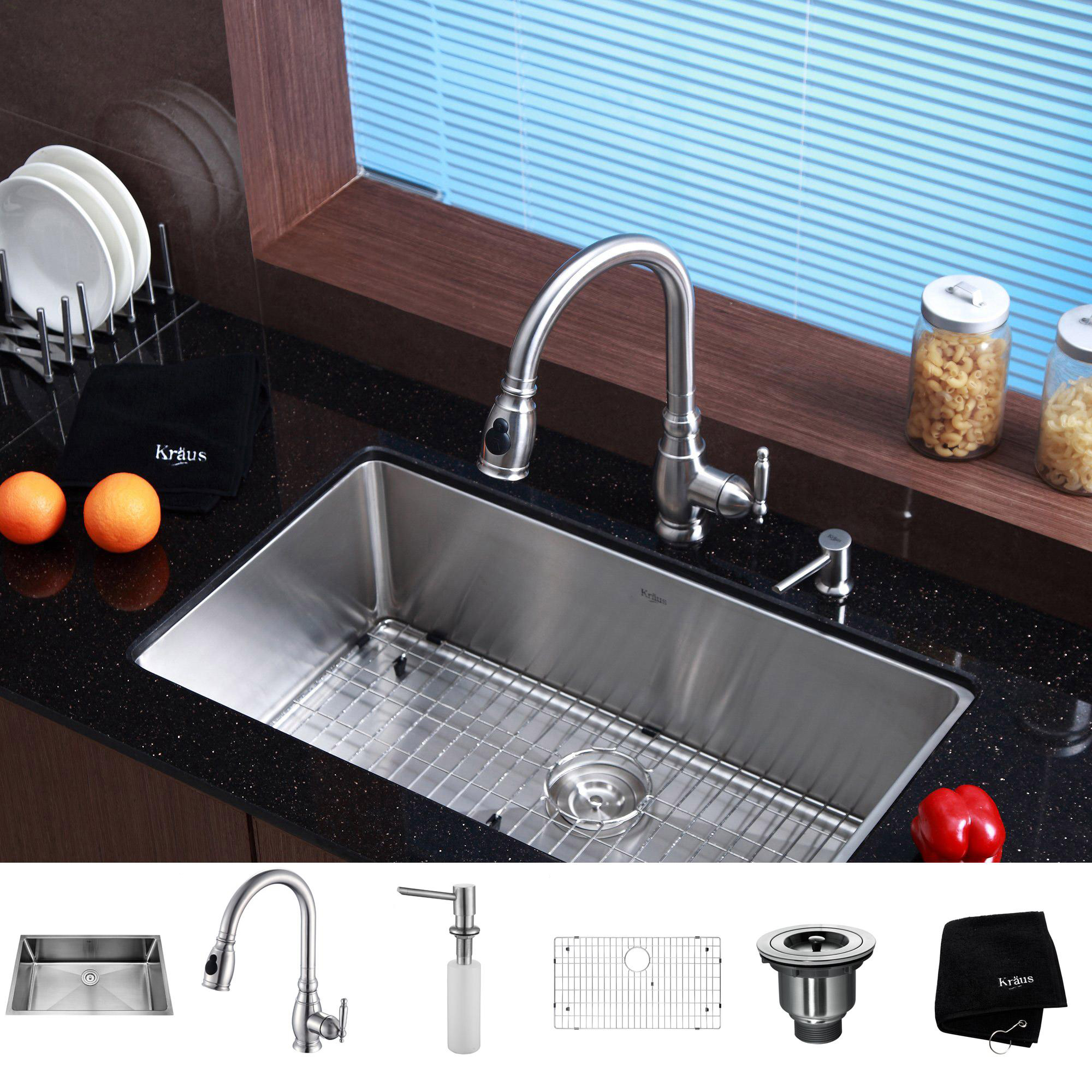 kitchen decor with kitchen cabinet with countertop and sink plus faucet before the window with bali blinds ideas