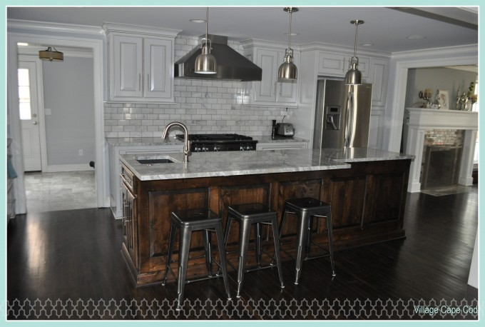 Kitchen Decoration With Black Metal 24 Inch Counter Stools On Dark Brown Wooden Floor Plus Wheat Countertop Plus Sink And Chandelier Ideas
