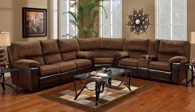 L Shaped Cheap Sectional Sofas In Brown On Wooden Floor Plus Rectangle Carpet Matched With Tan Wall For Living Room Decor Ideas