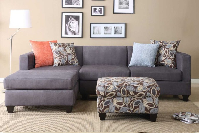 L Shaped Cheap Sectional Sofas In Grey Plus Cushions On Wheat Carpet Plus  Floral Ottoman For
