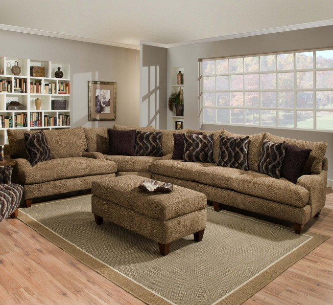 L Shaped Cheap Sectional Sofas In Tan On Wooden Floor Plus Olive Green Carpet Plus Tan Ottoman And Cushions For Living Room Decor Ideas