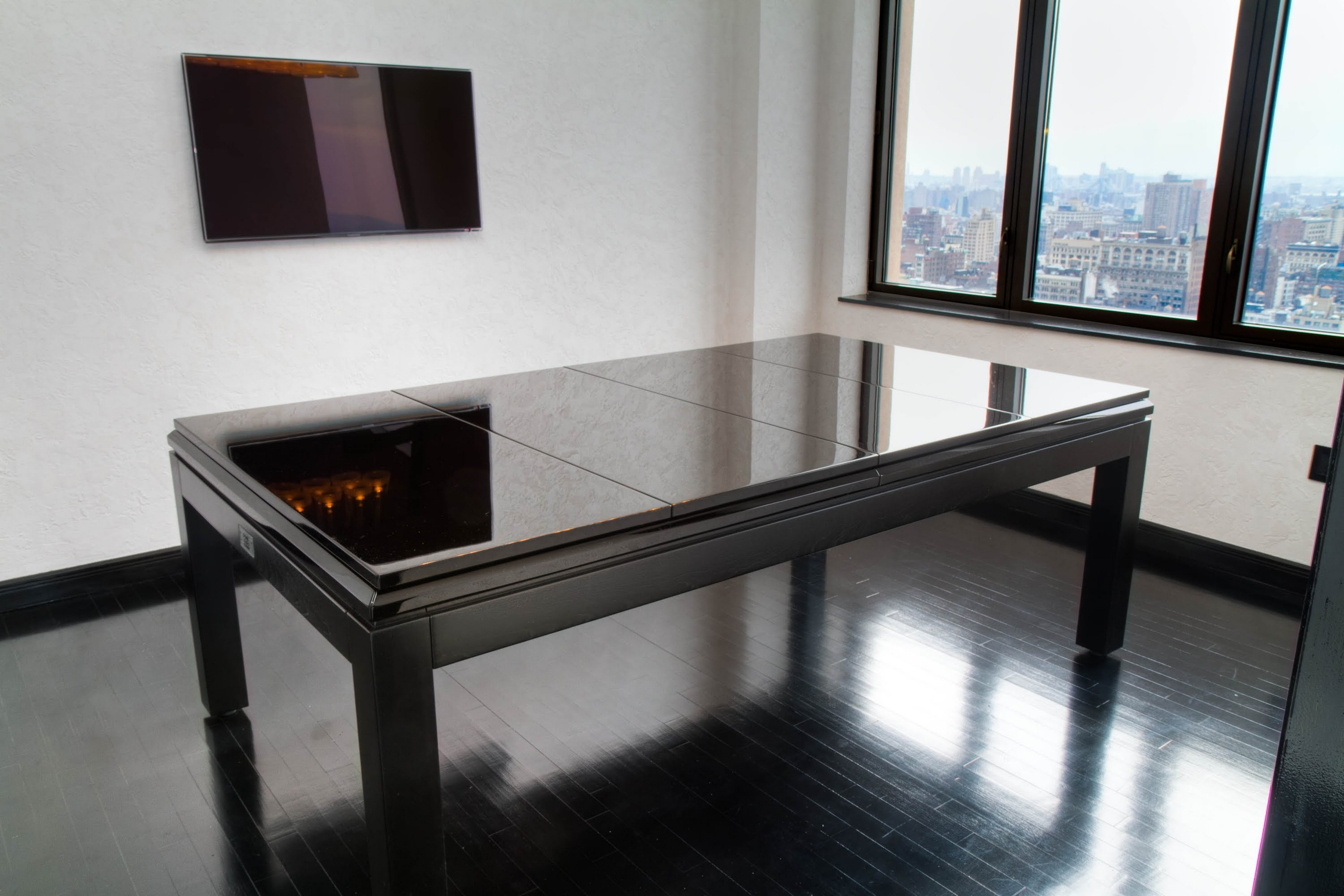 large black wooden with glass surface shuffleboard table for sale