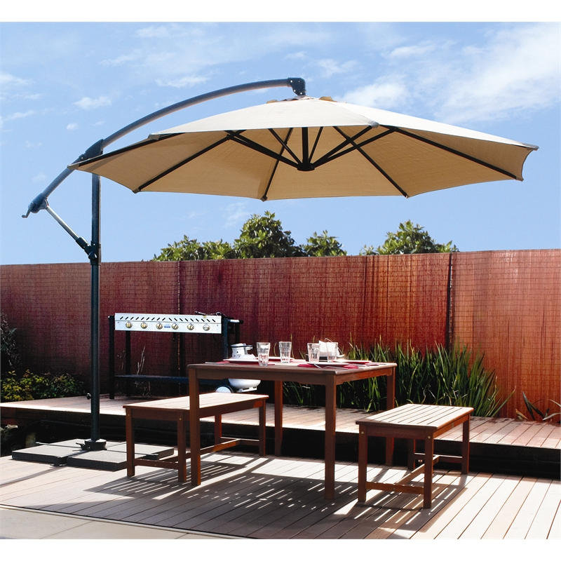Large Cantilever Patio Umbrella In Cream With Wooden Dining Table Set For  Patio Decor Ideas