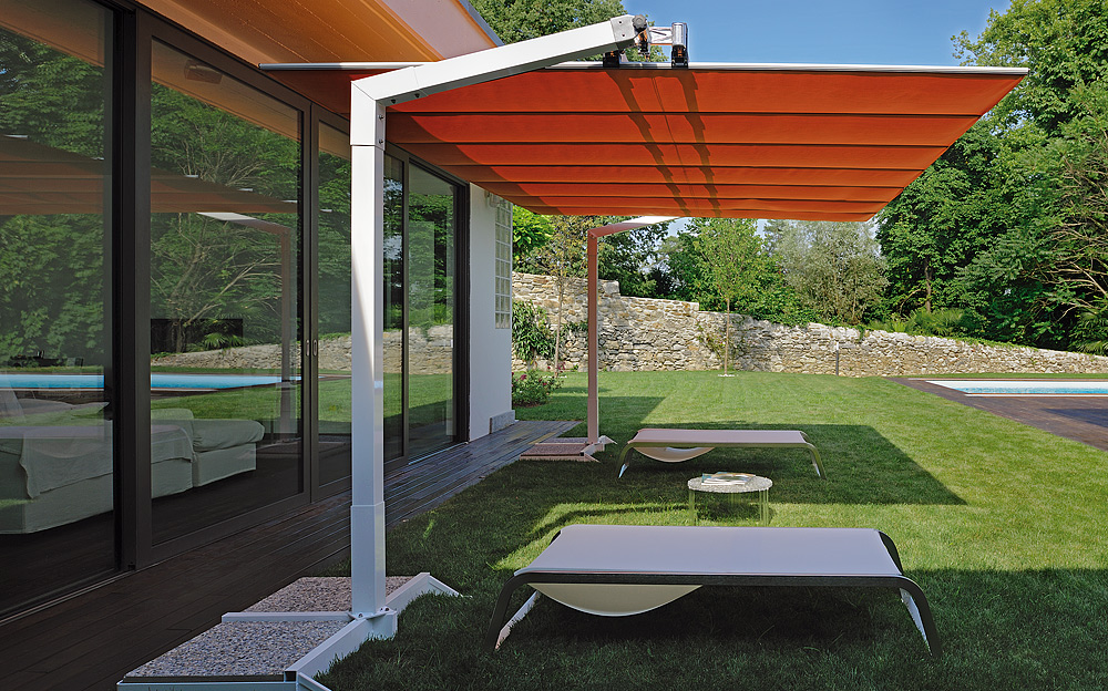Large Cantilever Patio Umbrella In Orange With White Stand For Patio  Furniture Ideas