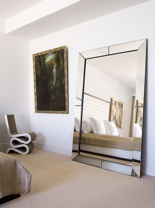 Large Leaner Mirror On Wheat Floor Matched With White Wall Plus Bedding For Bedroom Decor Ideas