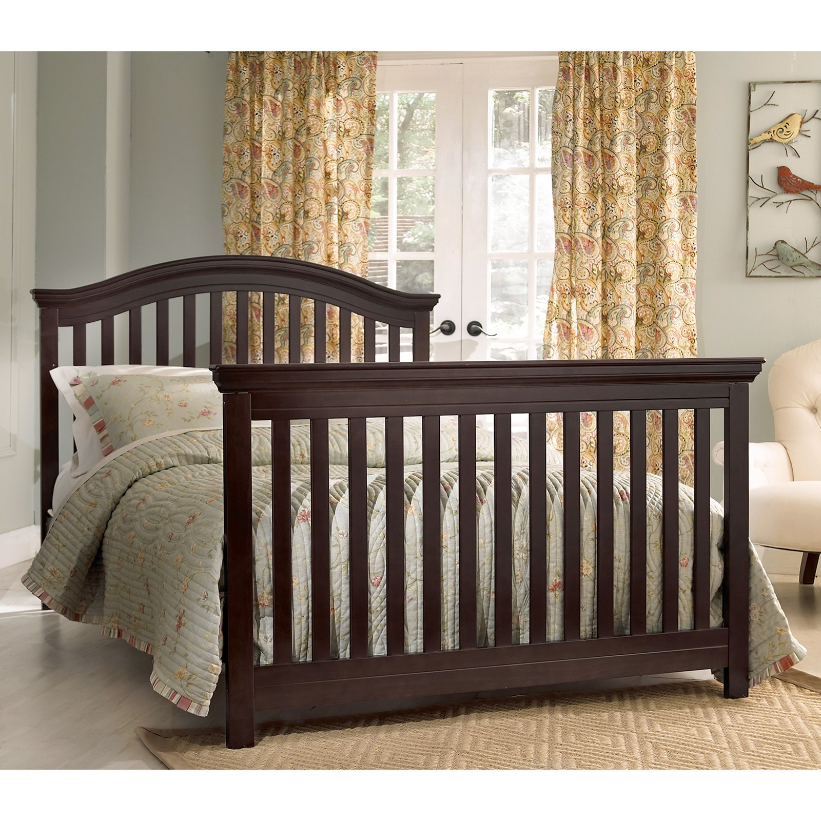 large munire crib in dark brown on wheat ceramics floor plus tan carpet matched with olive wall for kids room ideas