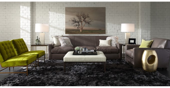 Large Ottoman Tray In Black On White Ottoman Plus Sofa Set On Black Carpet For Living Room Decor Ideas