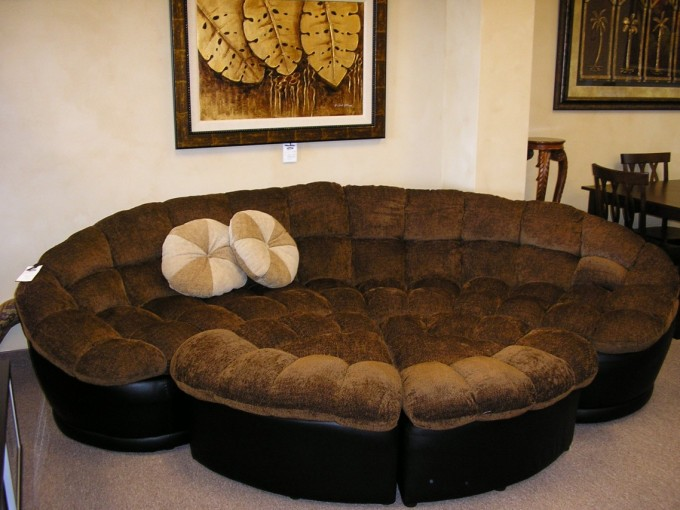 Large Sectional Sleeper Sofa In Brown On Wheat Ceramics Floor Matched With White Wall For Living Room Decor Ideas