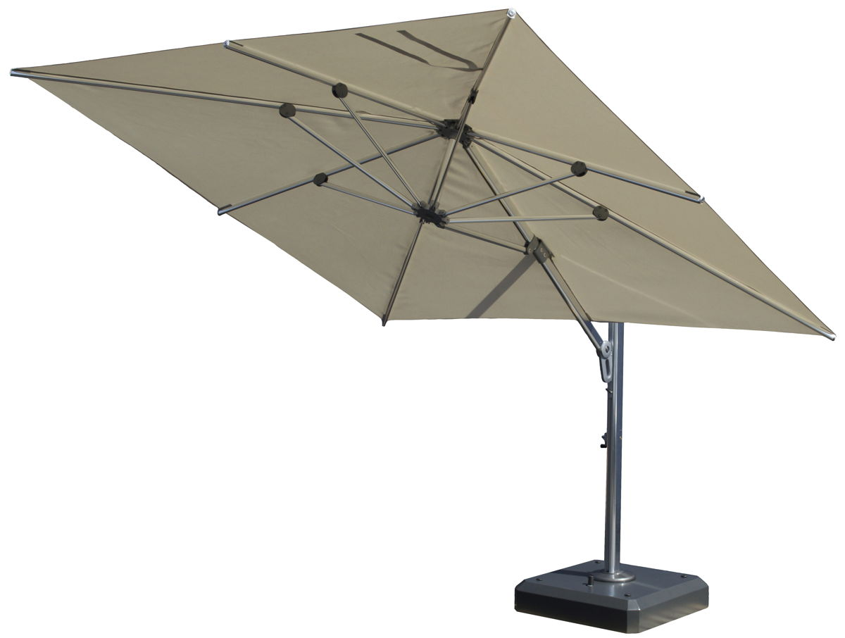 Large Square Cantilever Patio Umbrella With Black Iron Stand For Patio  Furniture Ideas