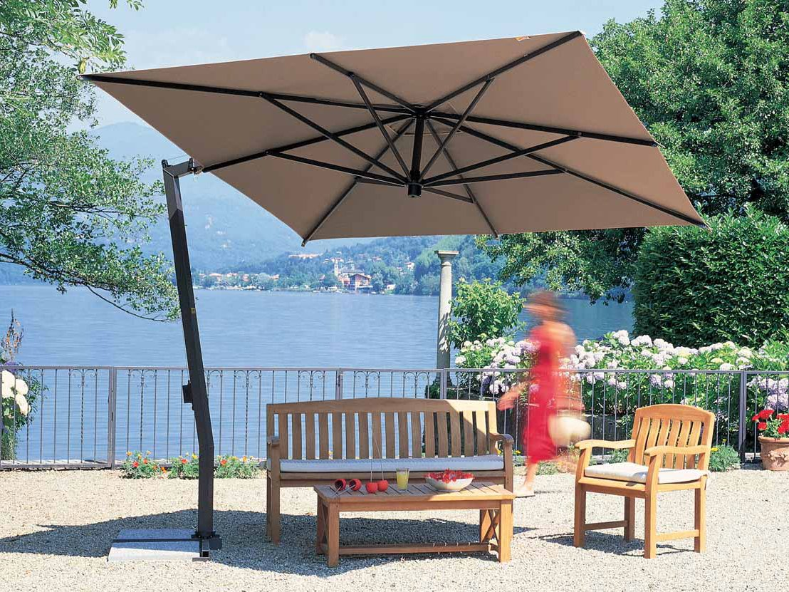 large square cantilever patio umbrella with black metal stand plus wooden sofa for patio decor ideas