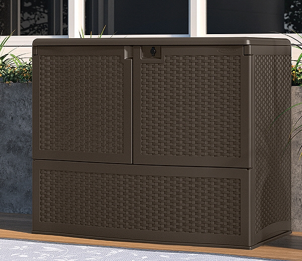 large Suncast Deck Box Ideas in dark brown with lock for patio furniture ideas