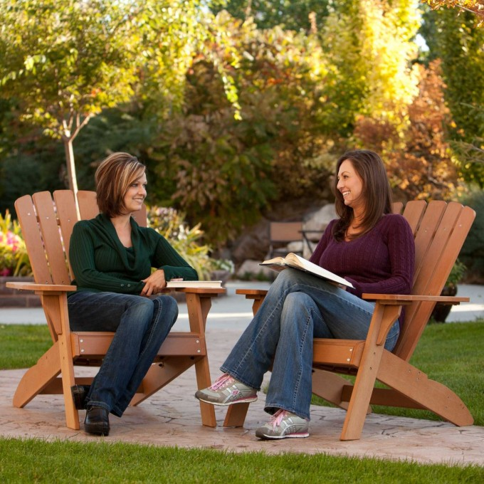Large Teak Adirondack Chairs In Brown For Patio Furniture Ideas
