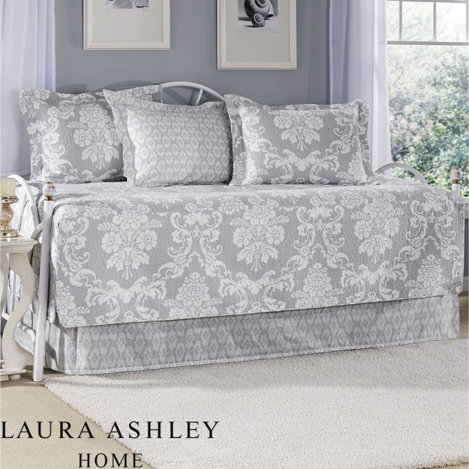 Laura Ashley Bedding In Grey And Floral Motif On White Rug Matched With Grey Wall Plus Pillows For Bedroom Decor Ideas