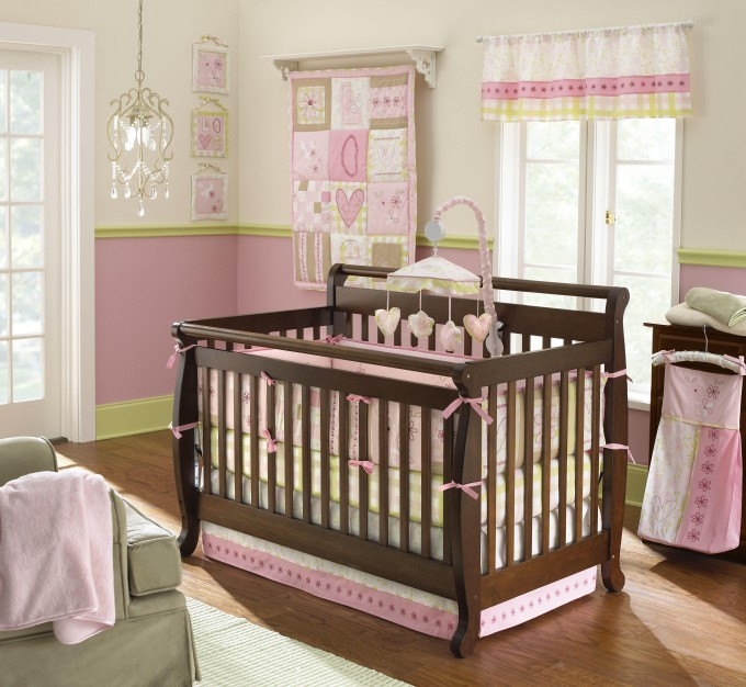 Laura Ashley Bedding In Pink With Brown Wooden Box On Brown Wooden Floor For Nursery Decor Ideas