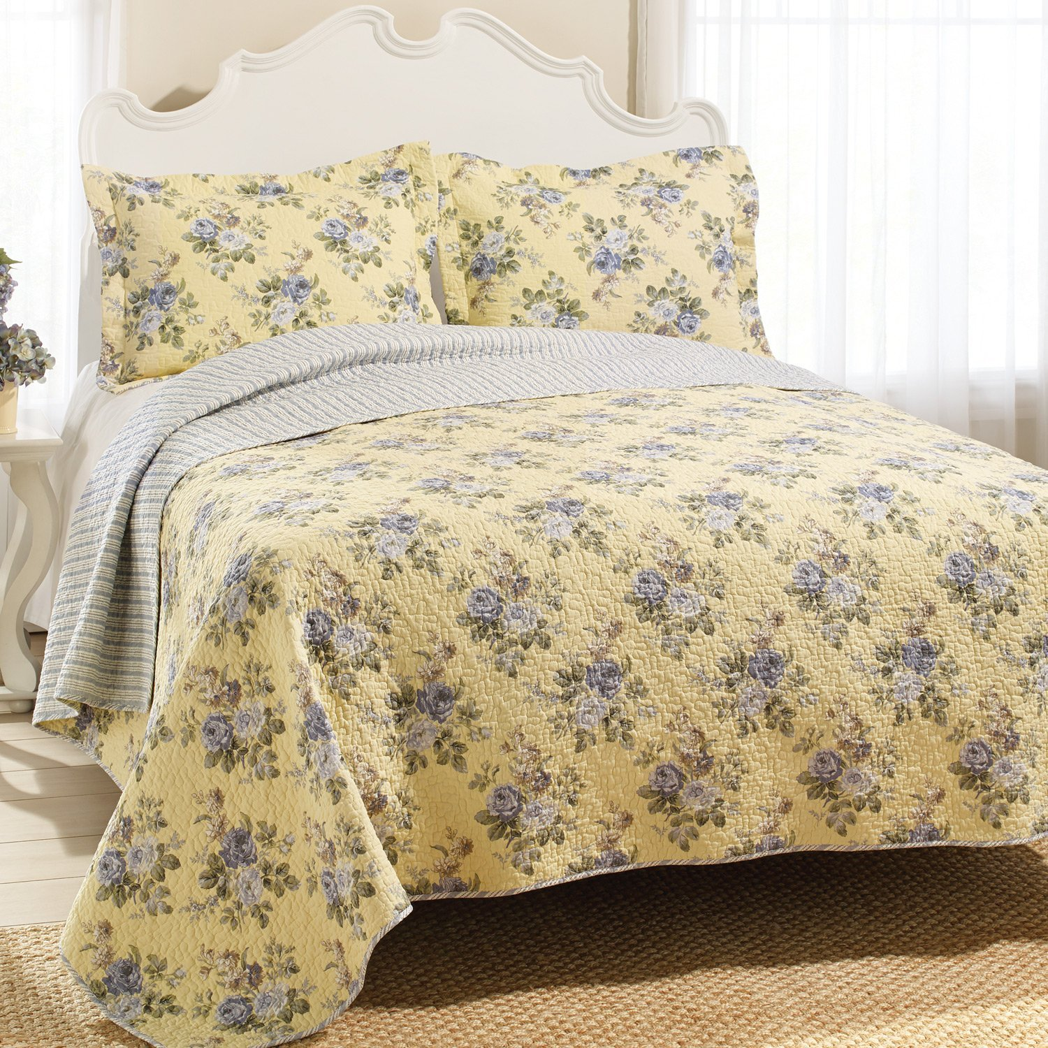 laura ashley bedding in yellow and floral pattern with white headboard on brown rugs matched with wheat wall plus white window plus white curtains for bedroom decor ideas