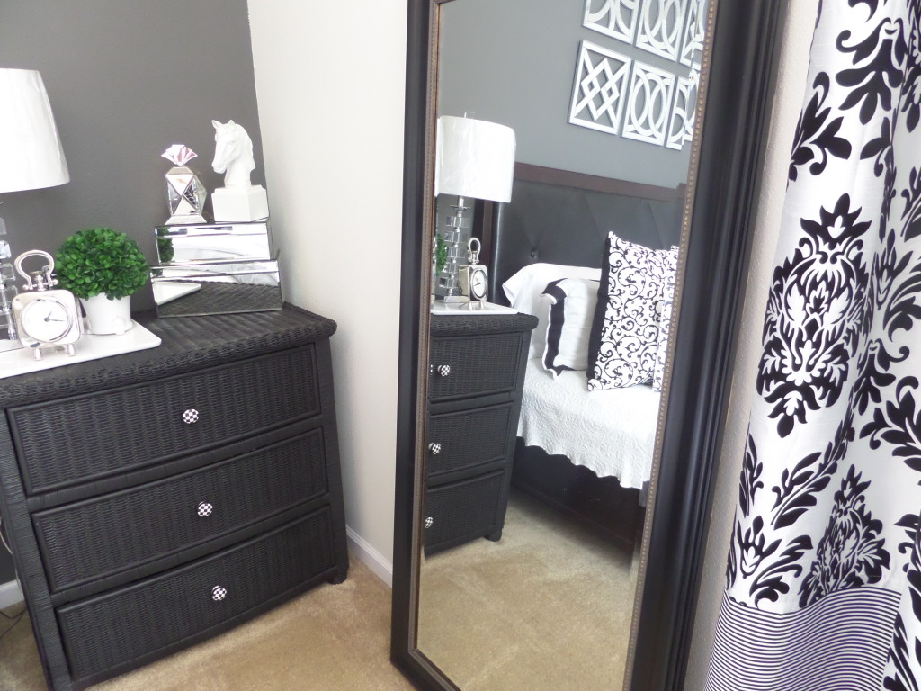 leaner mirror with black frame on tan floor matched with white wall plus  black dresser and. Bedroom  Decorative Leaner Mirror For Home Furniture Ideas