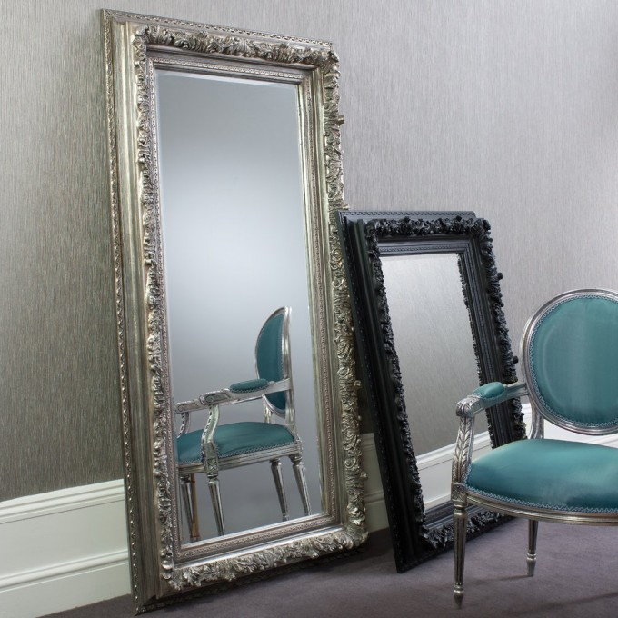 Leaner Mirror With Charming Frame For Home Furniture Ideas