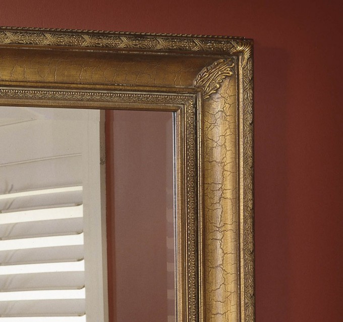 Leaner Mirror With Golden Frame For Home Furniture Ideas