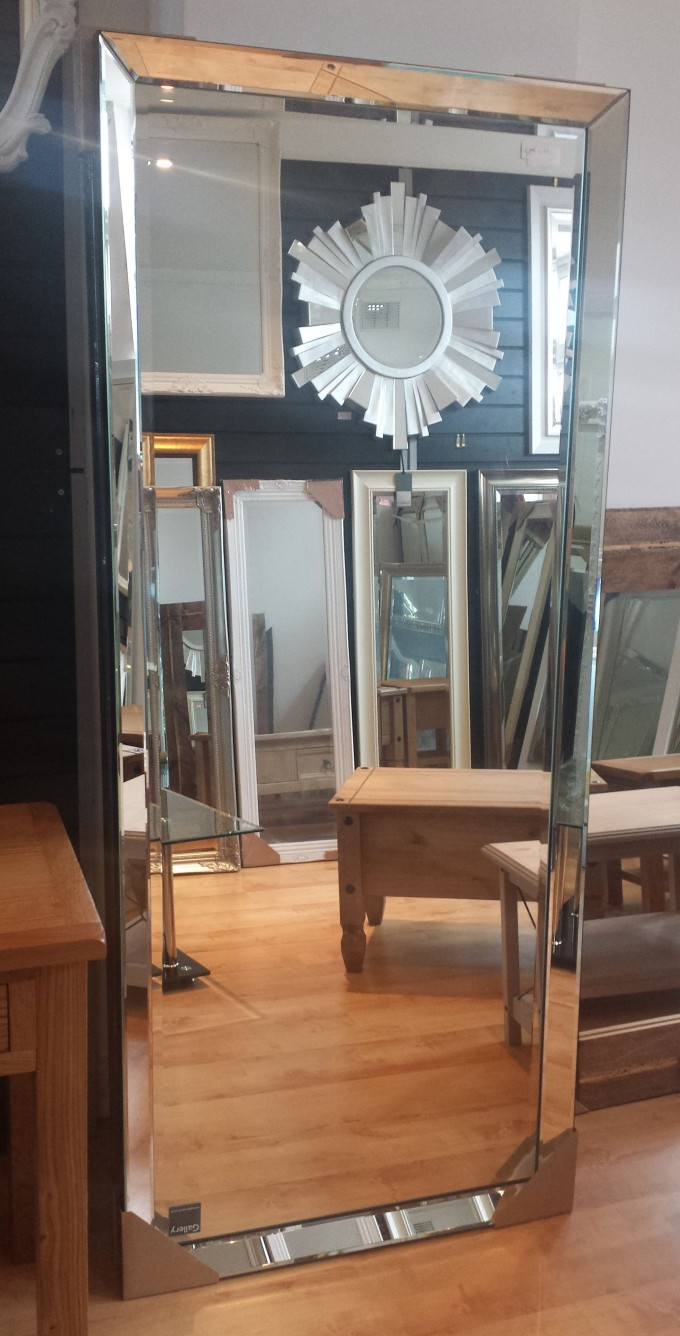Leaner Mirror With Silver Frame For Home Furniture Ideas