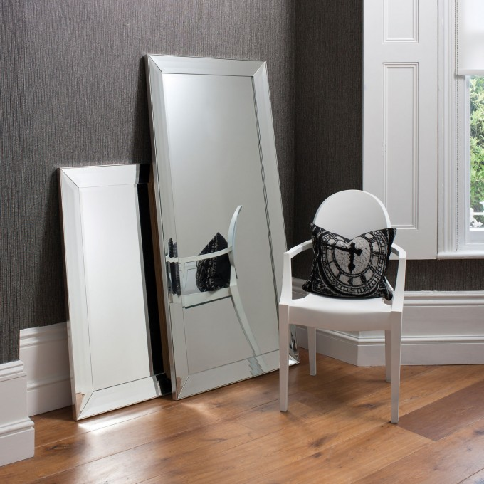 Leaner Mirror With Silver Frame On Wooden Floor Matched With Dark Grey Wall With White Wainscoting For Home Decor Ideas