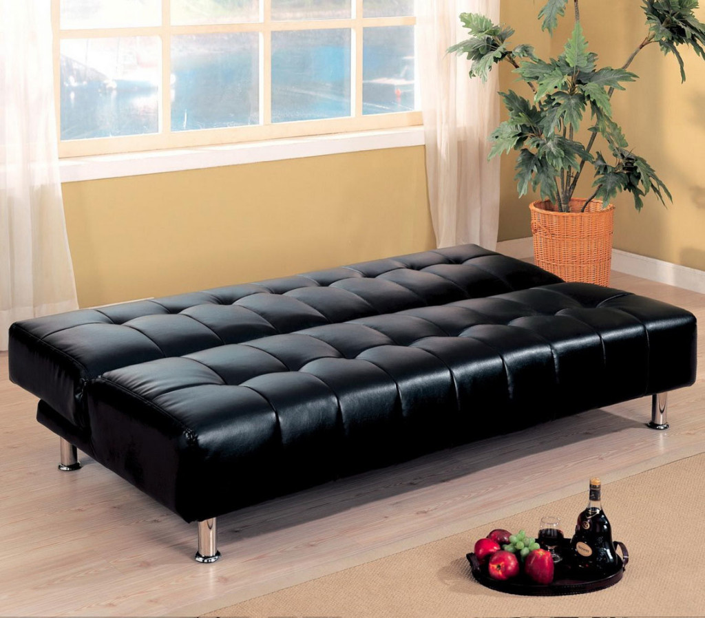 leather cheap futons in black on wooden floor matched with orange wall plus white window and curtains for home decor ideas