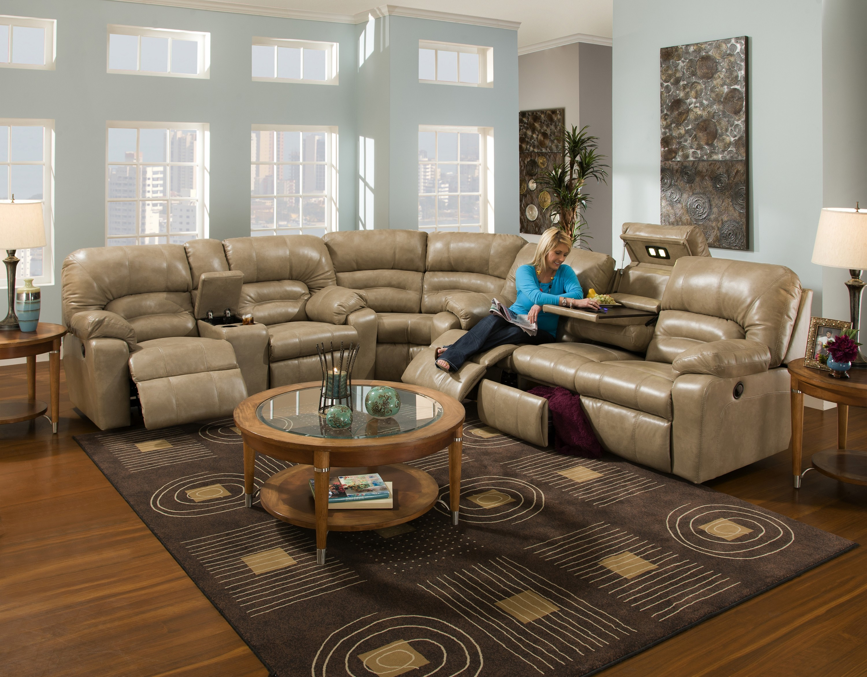 leather cheap sectional sofas in cream on wooden floor plus carpet and round table for living room decor ideas
