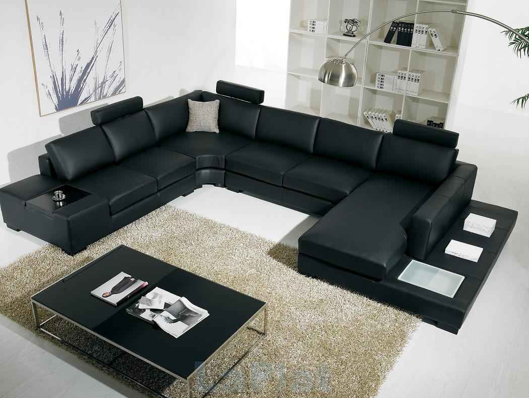 leather cheap sectional sofas in in black on white ceramics floor plus cream rug and floor standing lamp for living room decor ideas