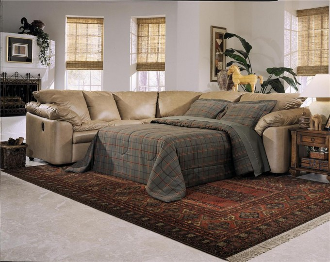 Leather Sectional Sleeper Sofa On White Floor With Carpet Matched With White Wall For Living Room Decor Ideas