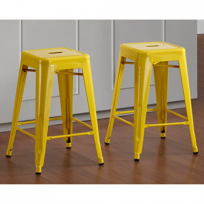 Lemon Metal 24 Inch Counter Stools On Wooden Floor For Home Decor Ideas