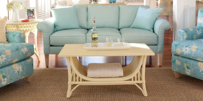 Light Blue Sofa And Cream Table By Hammary Furniture On Wooden Floor Plus Tan Carpet For Living Room Decor Ideas